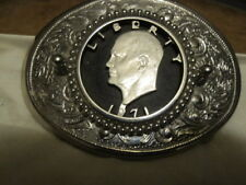 1971 Eisenhower Coin Cutout Belt Buckle