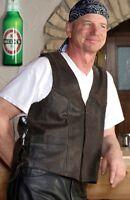 Chaleco de Cuero Antiguo Braun Hábito Ciclista Cowboy Oeste
