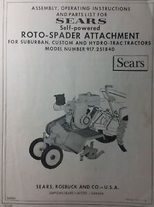 Sears Suburban Tractor 3-Point Roto Tiller & 7hp Engine Owner & Parts (2 Manuals