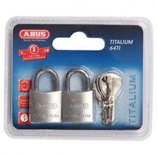 ABUS Titalium Padlocks-x 2 KEYED ALIKE Abus Padlock Free Postage-64TI20TWINSC