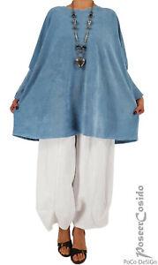 LAGENLOOK Nicky Pulli Pullover Tunika 46 48 50 52 54 56 58 XL-XXL-XXXL hell-blau