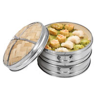 8inch 2 Tiers Bamboo Steamer Set Stainless Steel Home Kitchen Cookware + Li