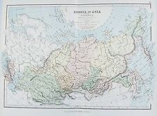 Antiguo Mapa Antiguo Rusia en Asia Siberia Cáucaso c1879 por G Philip Impreso Color
