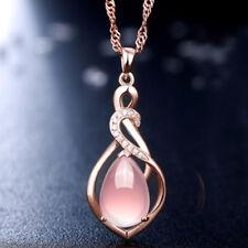 Rose Gold Kette Rosa Kristall Opal Anhänger Halskette Schmuck Damen Mode GUT