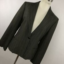 Max Mara 2 Blazer Jacket Gray Stripe Button Front Lined Classic Maxmara Women H4