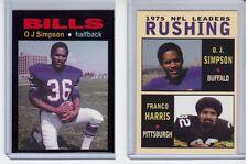 Lot of 2 OJ Simpson tribute cards:'69 Buffalo Bills & '75 NFL Rushing Leaders