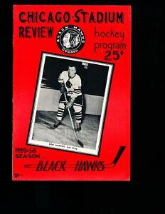 EX PLUS 1/20/1960 Black Hawks vs Bruins NHL Program - Ron Murphy on Cover