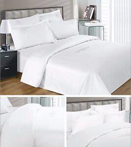 Luxury Egyptian Cotton Duvet Cover Pillowcase Set White Cream 330 Thread Count