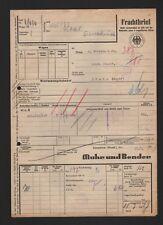 Frachtbrief 1953, Muhr und Bender von ATTENDORN nach BÜNDE