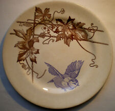 French Majolica Plate sepia color signed Choisy le Roi: Bird: Blue tit in flight