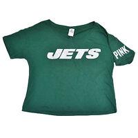 Victoria's Secret Pink T Shirt New York Jets Bling Logo Graphic Tee Nfl Vs New