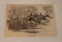 1879 magazine engraving ~ A HURDLE RACE