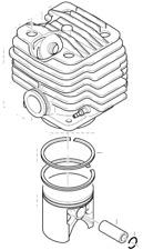 Kolben und Zylinder komplett D = 52 mm Dolmar Makita Solo