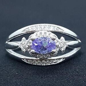 World Class 1.00ct Tanzanite & Diamond Cut White Sapphire 925 Silver Ring Size 8