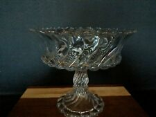Vintage Depression Glass Clear Tall Footed Compote Fruit - Swirled Glass