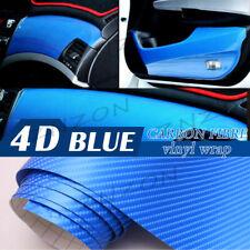 "4D Glossy Blue 24""x60"" Carbon Fiber Vinyl Wrap Car DIY Sticker Air Release New"