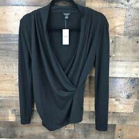 New Ann Taylor Women's Black Wrap Front Long Sleeve Top Size Medium Petite