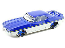 1969 PONTIAC FIREBIRD BLUE/WHITE CUSTOM 1/24 DIECAST MODEL CAR BY MAISTO 31040