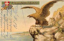 x559) 1 REGGIMENTO ALPINI, VERSO BIPARTITO E STEMMA. VIAGGIATA.