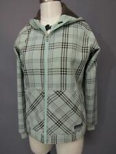 Patagonia Slopestyle Baby Blue & Brown Check Hoodie Womens Jacket Small