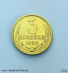 Russia Soviet Russland münzen 3 копейки 1990 Vergoldet 24 Karat