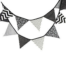 3.3M Black White Vintage Cotton Fabric Flag Bunting Party Nursing 12 flags