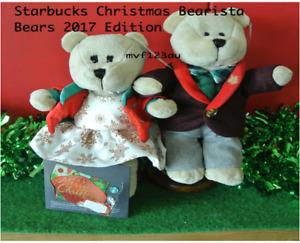 STARBUCKS Christmas Bearista Boy and Girl 2017 (Set of 2) + Merry Christmas Card