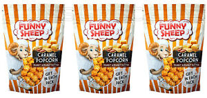 3 x Funny Sheep Caramel Popcorn with Peanut Butter Snacks Treats 100g 3.5oz