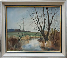 """Oil on board by Ronald Crampton. """"River Nar, West Acre"""""""