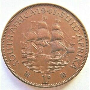 1941 SOUTH AFRICA, GEORGE VI,  Penny grading EXTRA FINE.