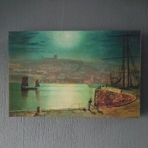 Whitby Harbour By Moonlight Canvas wall Art picture