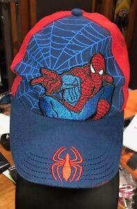 Marvel Boy's Spider-Man Embroidered Red Blue Web Baseball Hat Cap #D