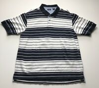 Izod Men's Extra Large Black White Striped Polo Pullover Shirt Short Sleeves