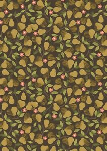 0.5 metre Pears on Dark 100% Cotton Fabric 112cm wide