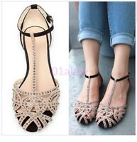 2016 Womens Girl Flat Sandal Summer Sandal Cut out  Rhinestone T-Strap Bar Shoes