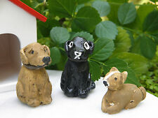 Miniature Dollhouse Fairy Garden Accessories ~ Set of 3 Rustic Dog Dogs ~ New