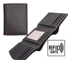 Tuscan Leather Men's Calf Hide Dark Brown Leather Trifold Wallet RFID