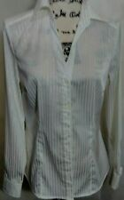 Fred David Stretch White Silver Pinstripe Woman Long Sleeve Career Blouse Small