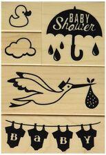 BABY SHOWER Rubber Stamps 60-10167 Inkadinkado 5 pc set Brand NEW! stork duck