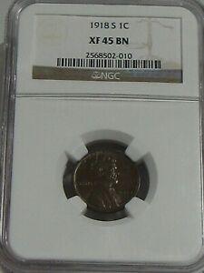 Choice XF 1918-s Lincoln Wheat Penny NGC XF45 BN.  #37