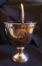 Antique Silver Pedestal Bowl with Handle & 'Hope' Design by Thomas Bradbury 1910