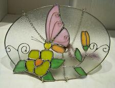 Glasbild Metallverglasung Blüten und Schmetterling