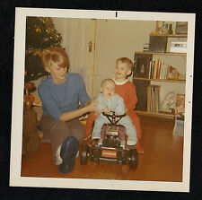 Vintage Photograph Mom w/ Little Boy & Baby Sitting on Ride On Toy - Christmas