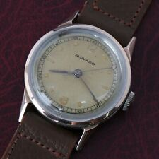 Vintage Antique Movado Factories Two Tone Rose Gold Stainless Calfskin Leather