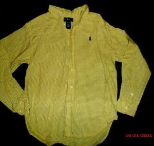 BOY'S RALPH LAUREN DARK YELLOW  DRESS SHIRT SIZE- MED 12 / 14
