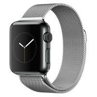 Apple Watch Series 2 - 42mm Black Stainless Steel Case - Silver Milanese Loop