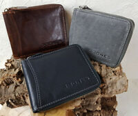 Men's Leather Rfid Purse for Men Briefcase Zip