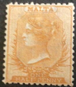 Malta Victoria 1871 1/2d Yellow Orange Clean Cut Mint SG15 C/V £400.00 in 2021.
