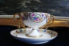 Tasse,coupe présentation porcelaine H.T Limoges France 1930 décor main or,fleurs