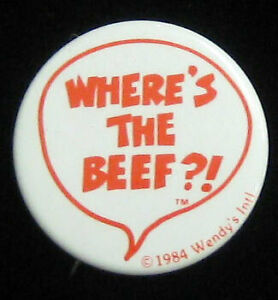 Wendy's Where's the Beef?! VTG Original 1984 Pinback Badge Button for Jacket/Hat